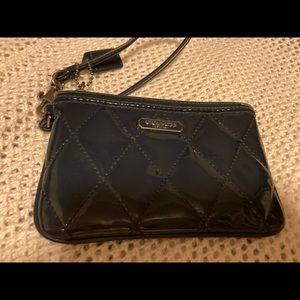 Navy Blue Coach Patent Leather Wrist Wallet